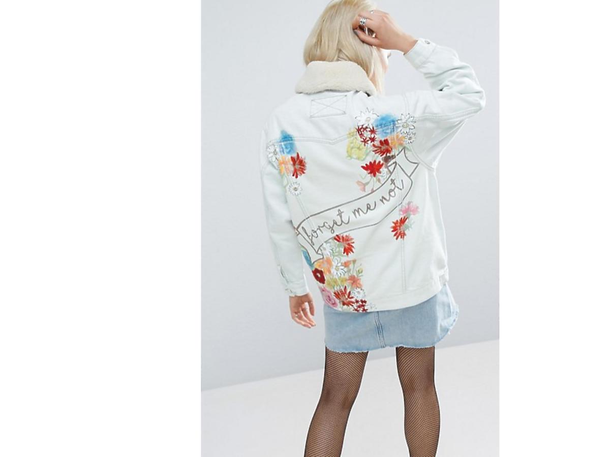 Anna Lewandowska dżinsowa kurtka z naszywkami napisem cena Mohito Zara Reserved H&M Asos