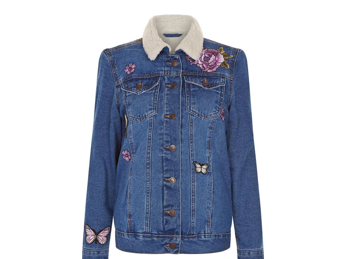 Anna Lewandowska dżinsowa kurtka z naszywkami napisem cena Mohito Zara Topshop H&M New Look