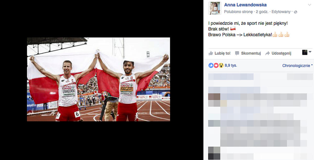 Anna Lewandowska gratuluje polskim lekkoatletom
