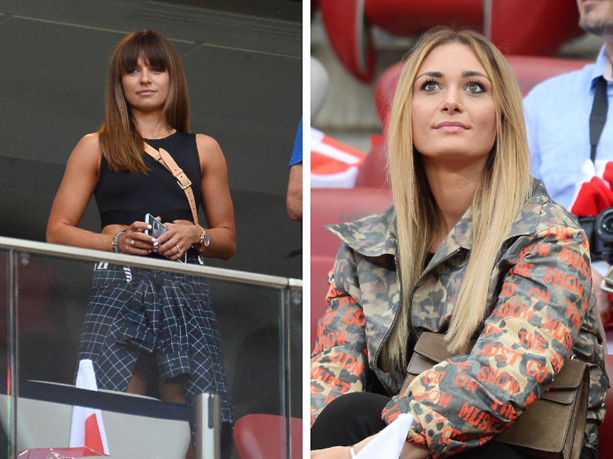 Anna Lewandowska i Jessica Ziółek na meczu Reprezentacji Polski