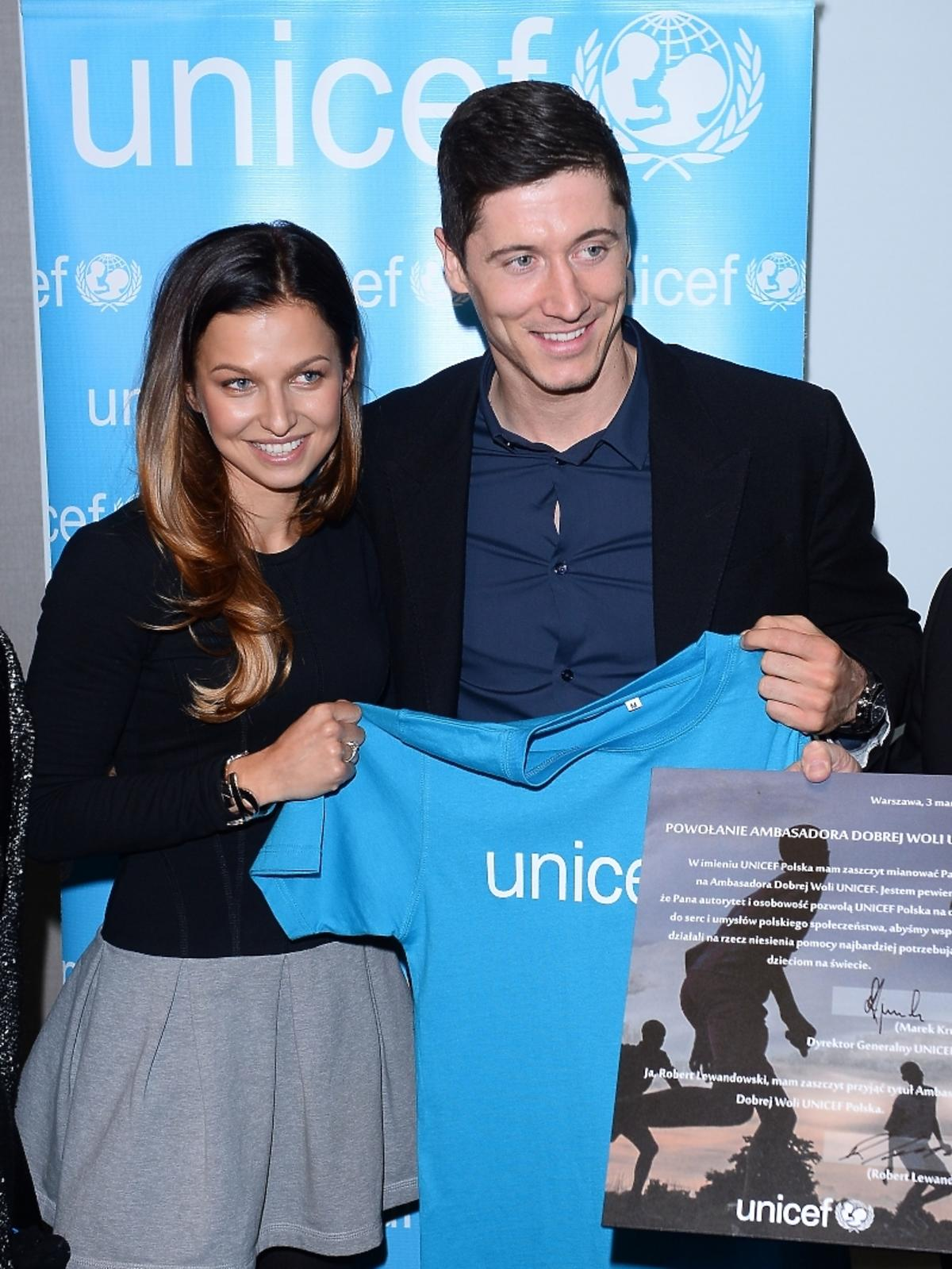 Anna Lewandowska i Robert Lewandowski na konferencji UNICEF