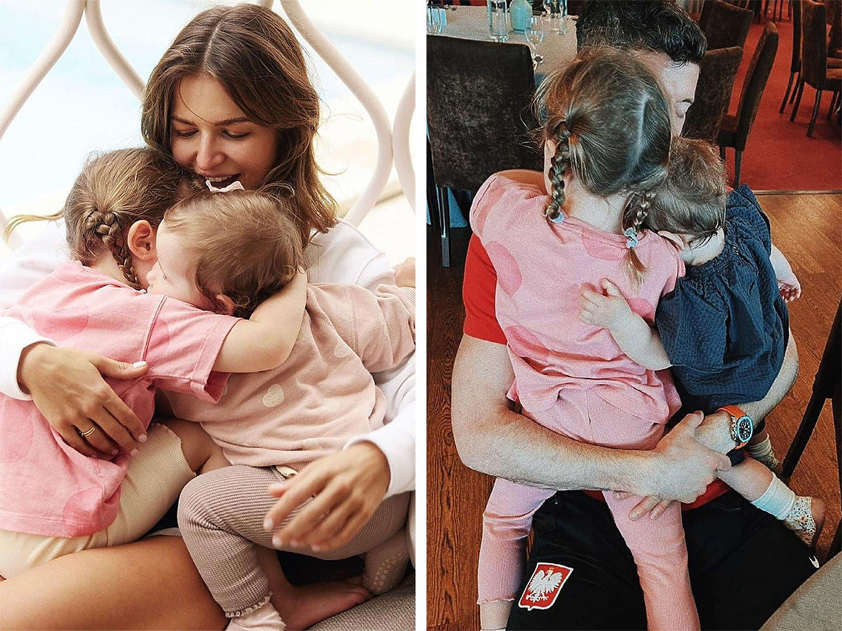 Anna Lewandowska i Robert Lewandowski przytulają Laurę i Klarę
