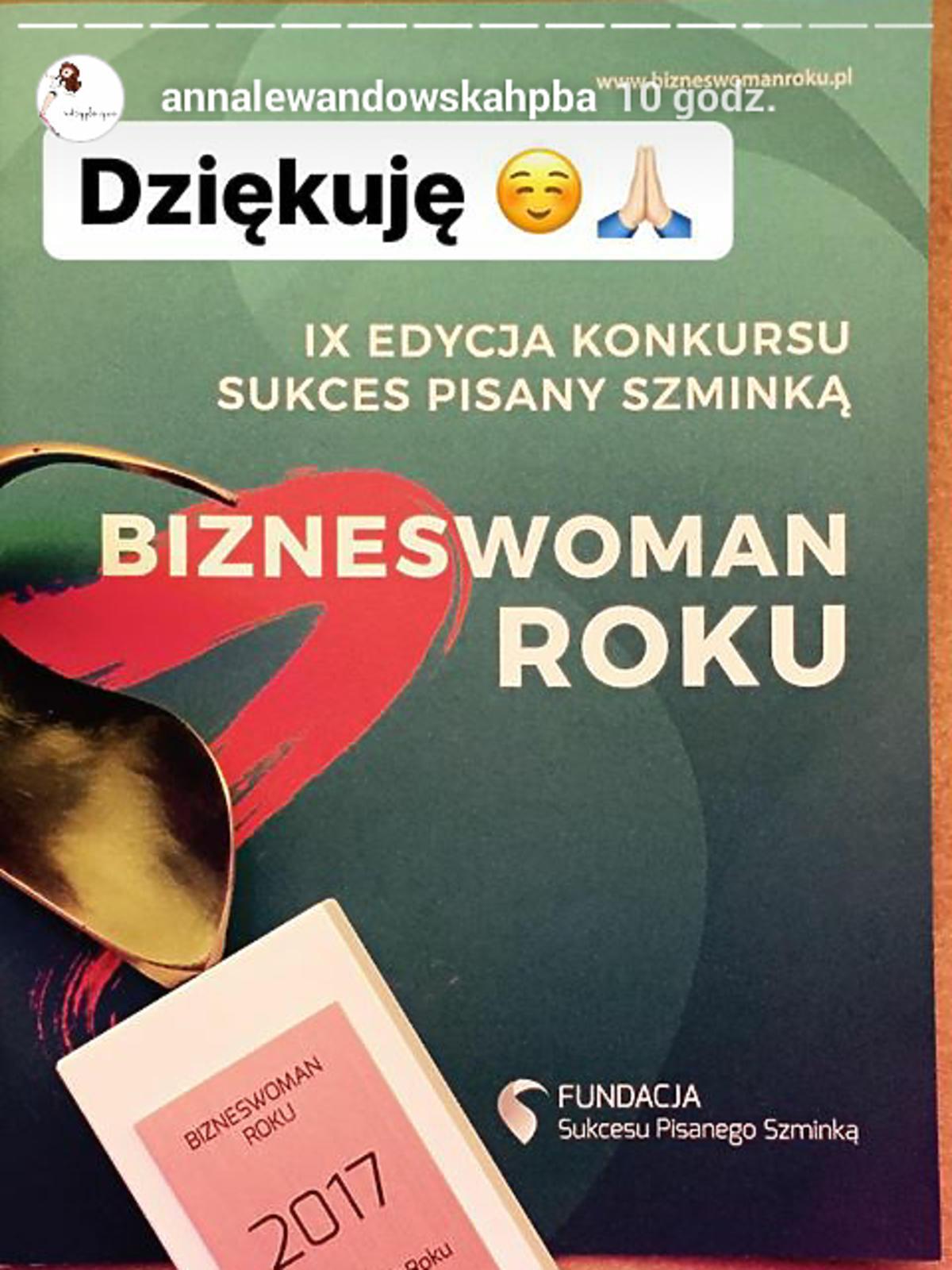 Anna Lewandowska influencerką roku 2017