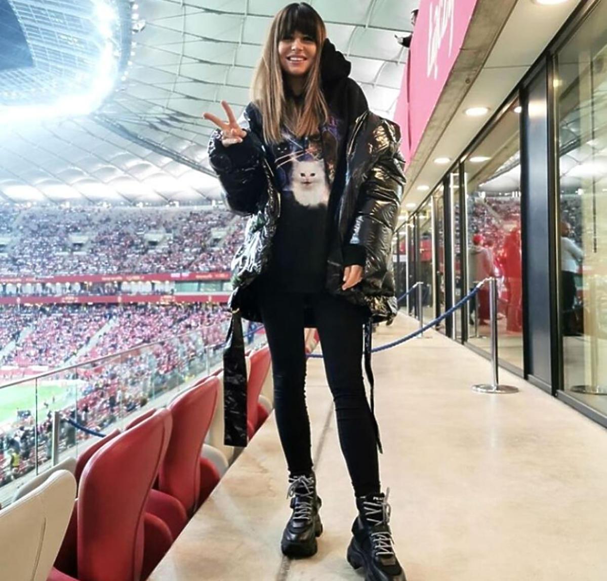 Anna Lewandowska na meczu Polska-Słowenia