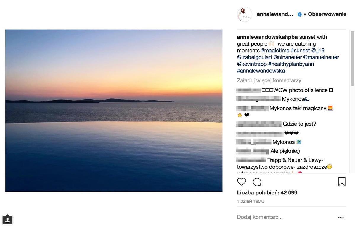 Anna Lewandowska na plaży w Mykonos
