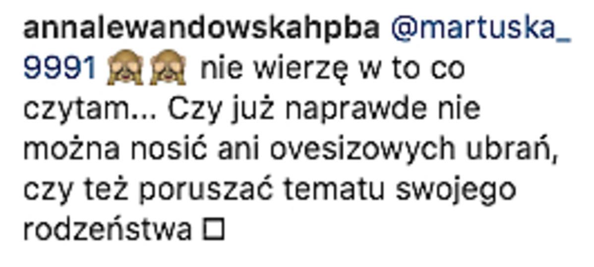Anna Lewandowska odpowiada fance