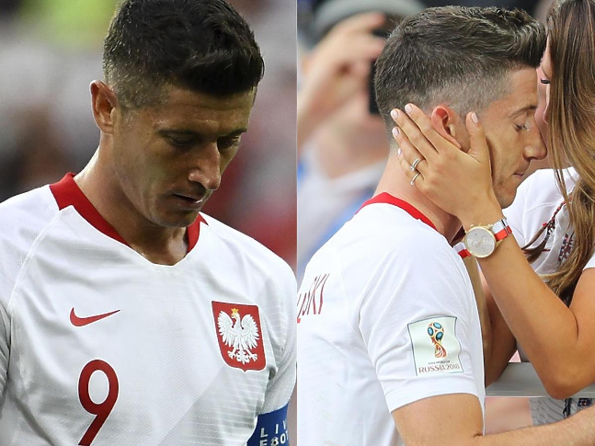 Anna Lewandowska pociesza Roberta po meczu z Senegalem