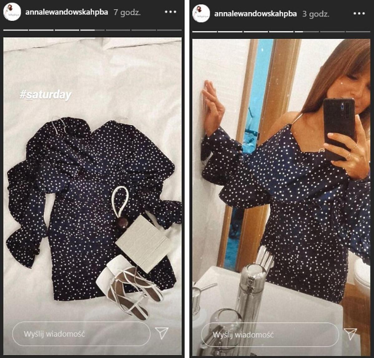 Anna Lewandowska pokazała granatową sukienkę w grochy