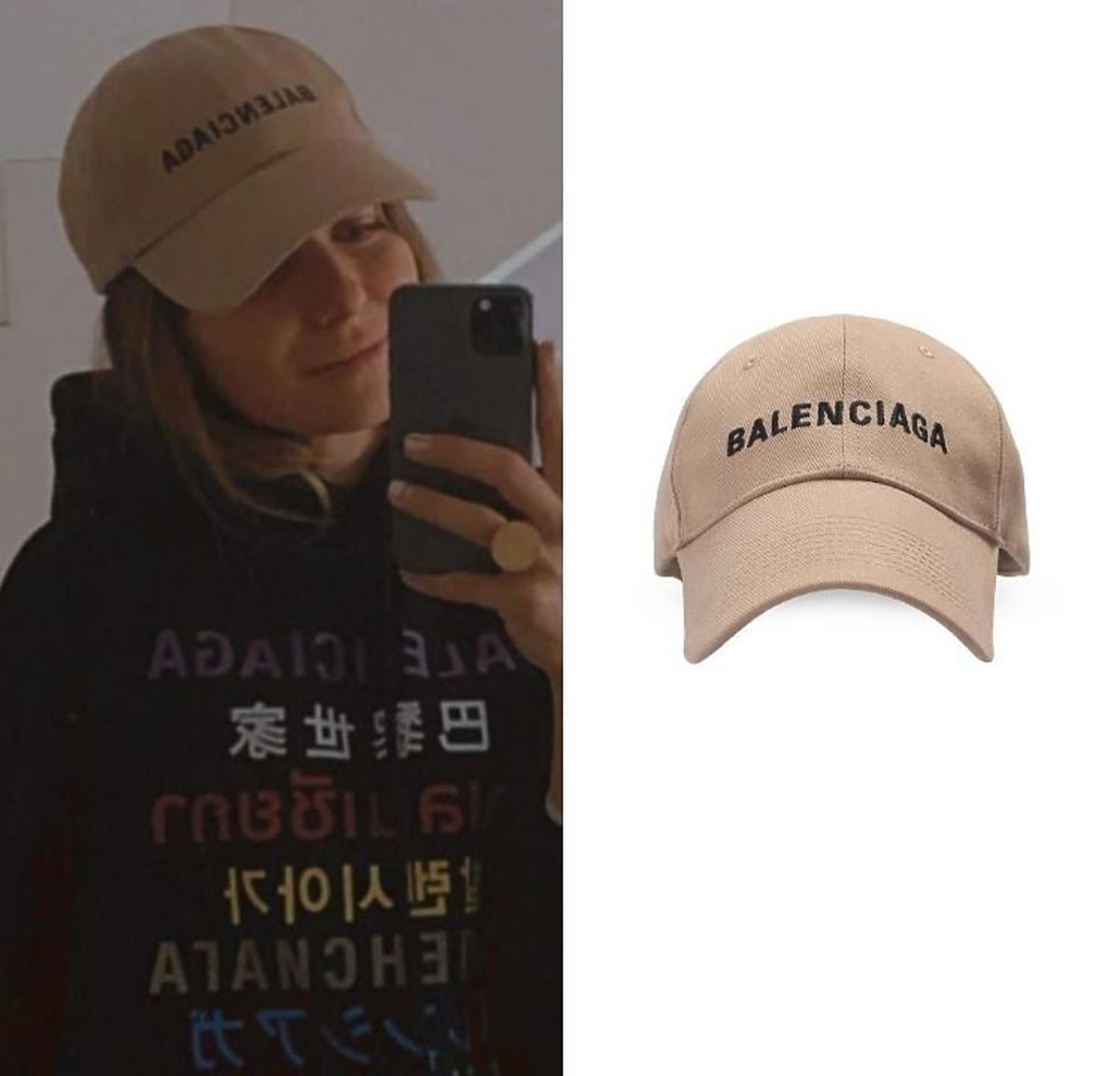 Anna Lewandowska w beżowej czapce i czarnej bluzie