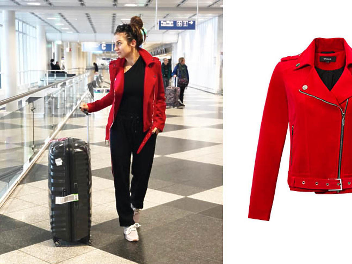 Anna Lewandowska w czerwonej kurtce