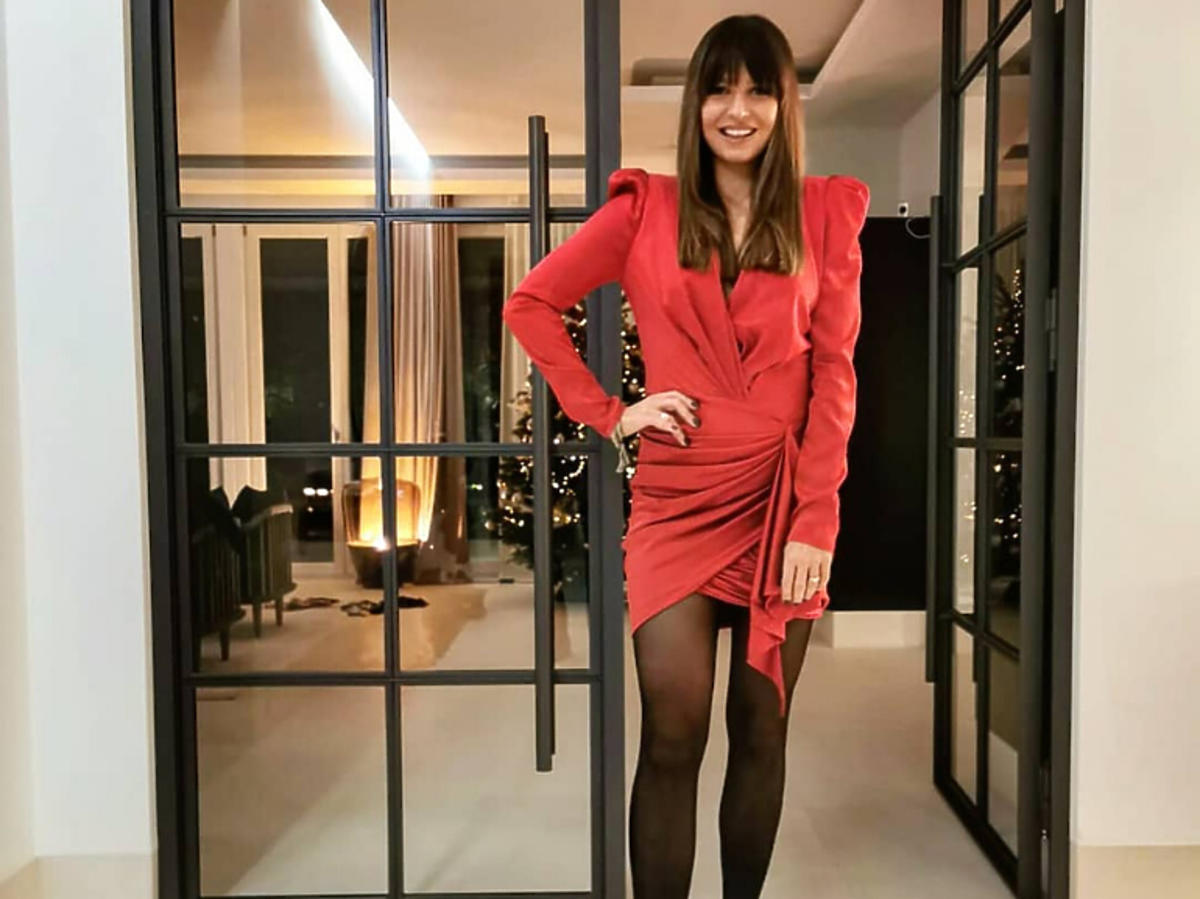 Anna Lewandowska w czerwonej sukience