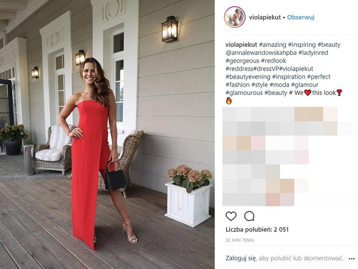 Anna Lewandowska w czerwonej sukience na ślubie