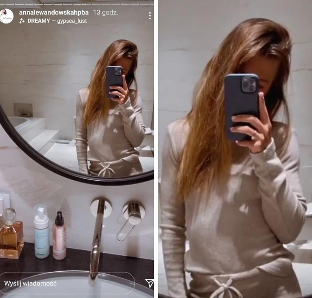 Anna Lewandowska w jasnym dresie w łazience