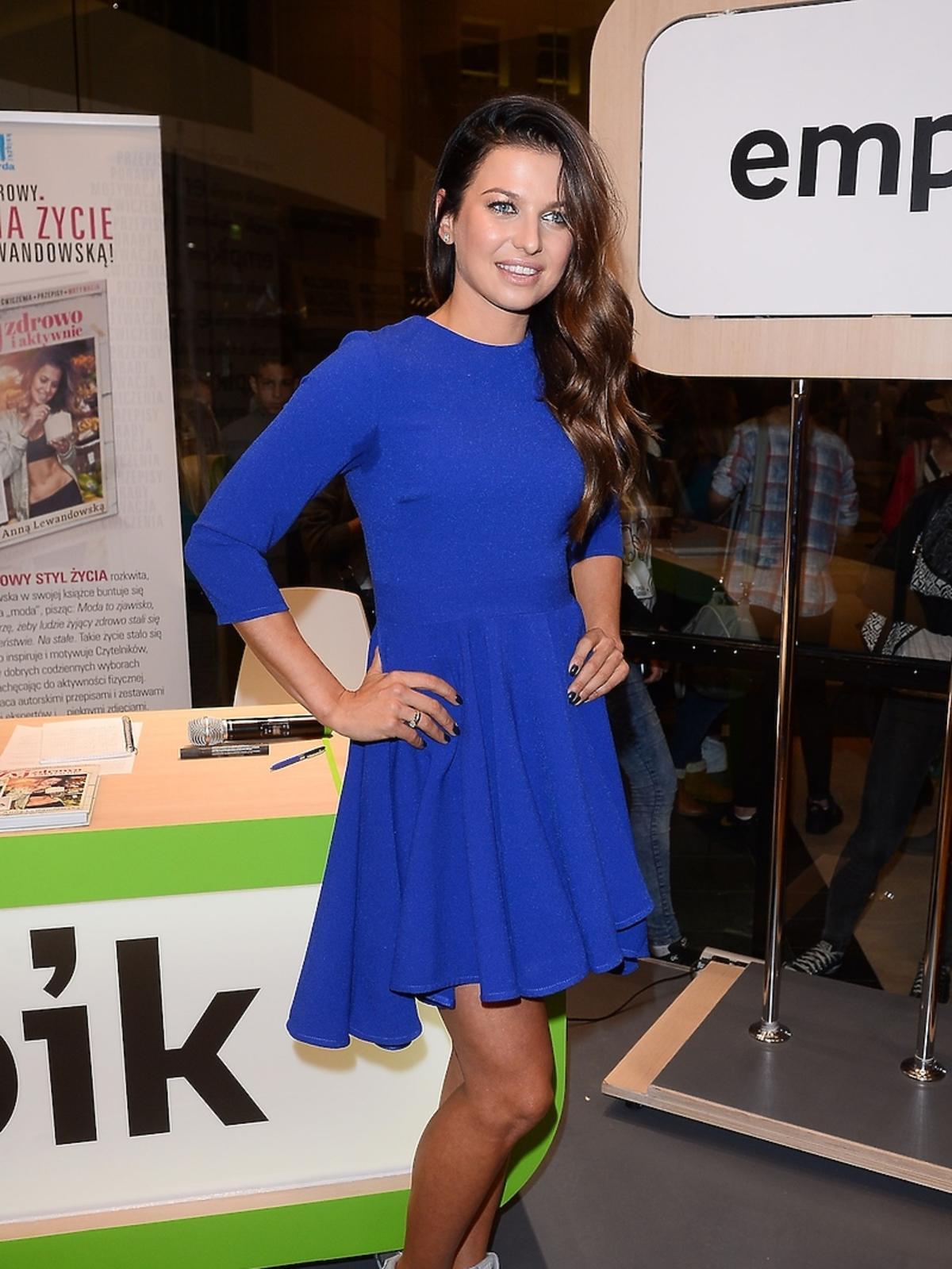 Anna Lewandowska w niebieskiej sukience i srebrnych butach