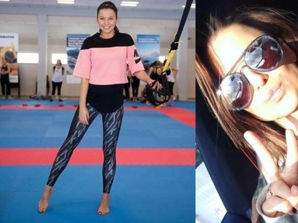 Anna Lewandowska w różowej bluzie