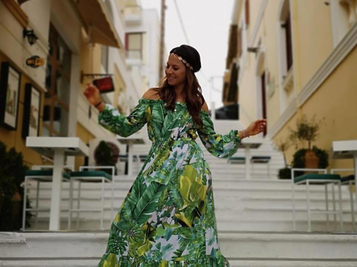 Anna Lewandowska w zielonej sukience maksi z Mosquito