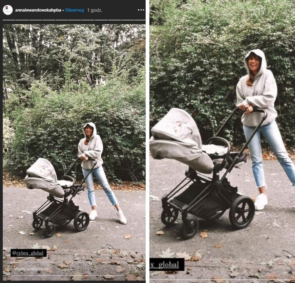 Anna Lewandowska wozi Laurę w wózku Cybec Priam