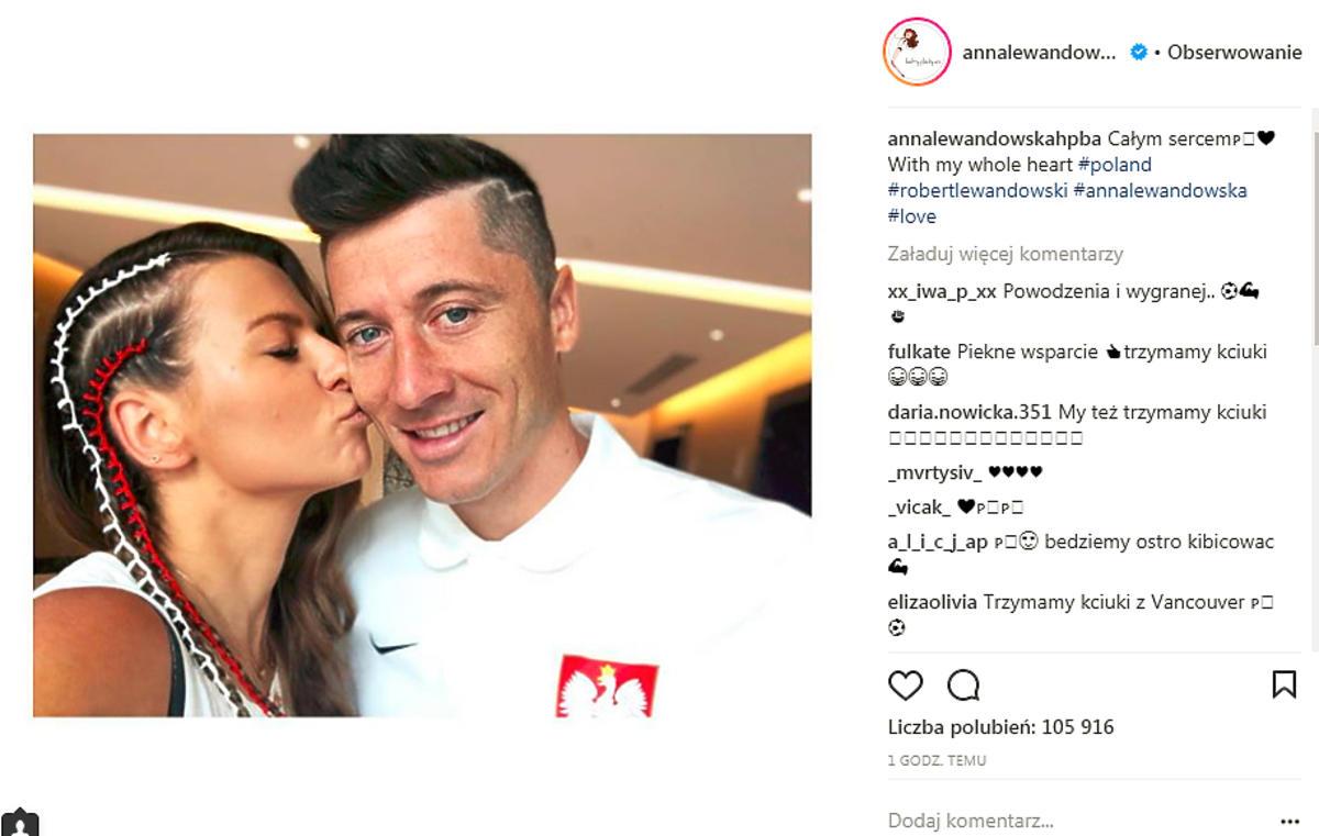 Anna Lewandowska z mężem