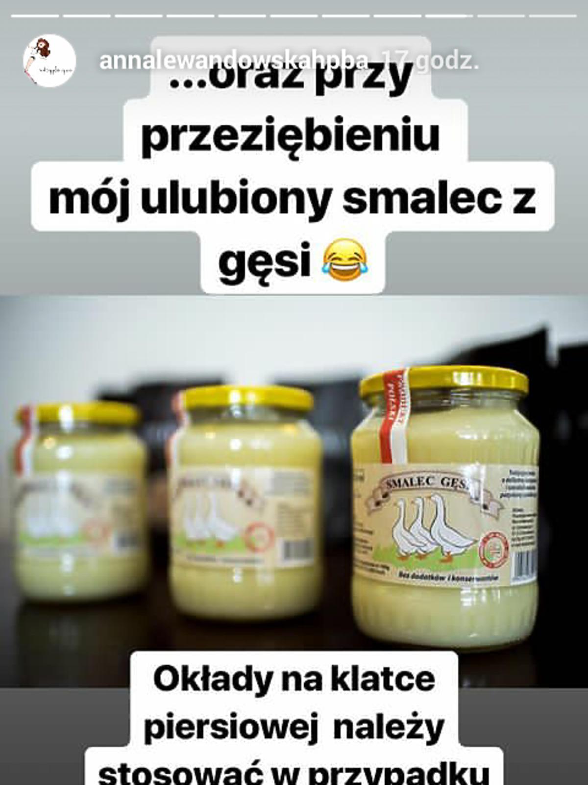 Anna Lewandowska żartuje ze smalcu z gęsi