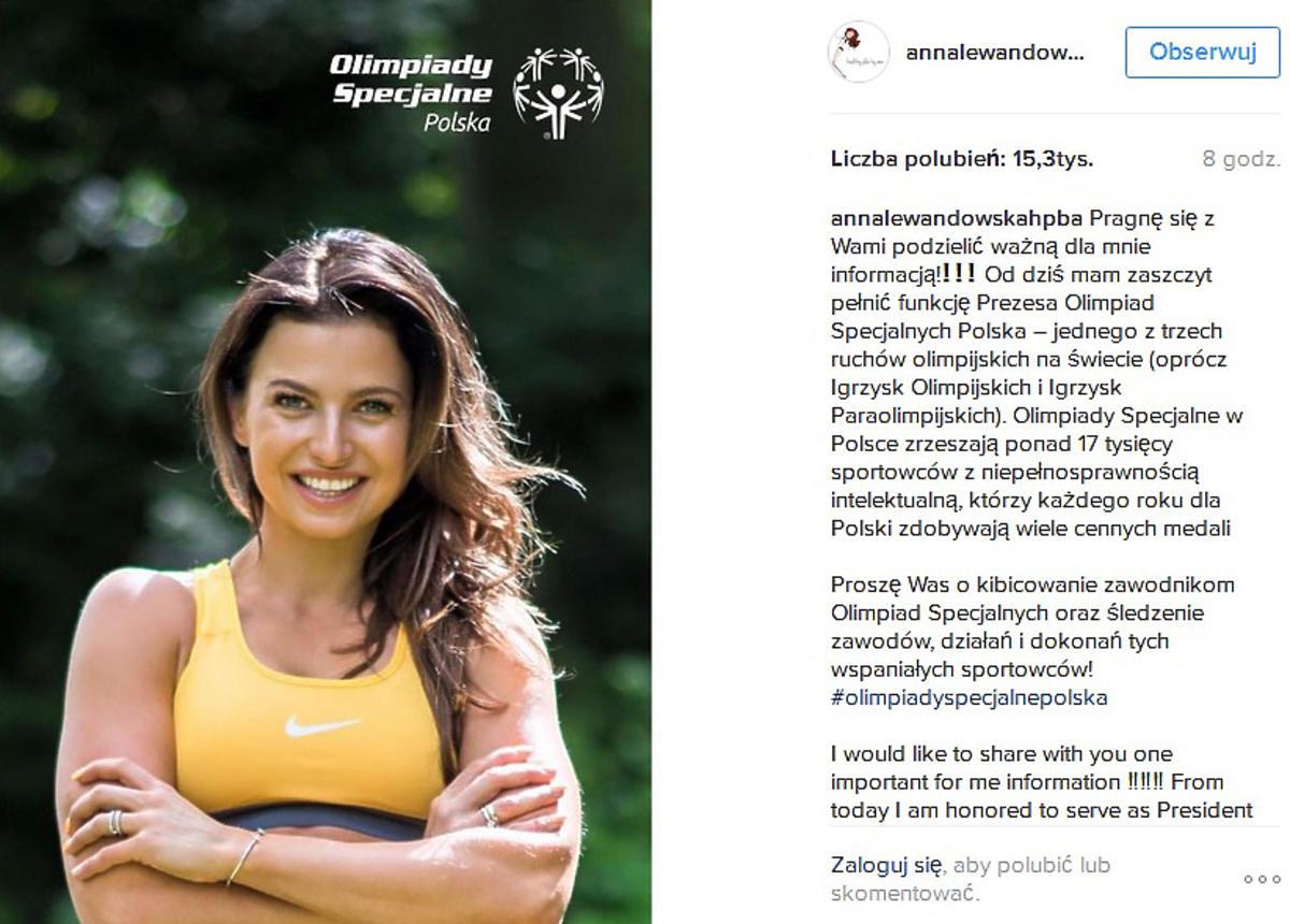Anna Lewandowska została prezesem Olimpiad Specjalnych w Polsce