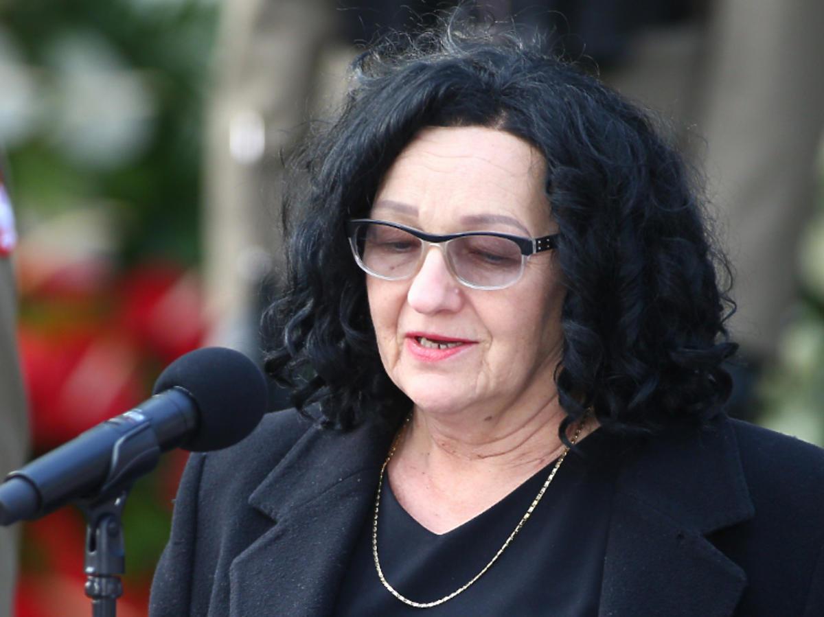 Anna Morawiecka przemawia na pogrzebie
