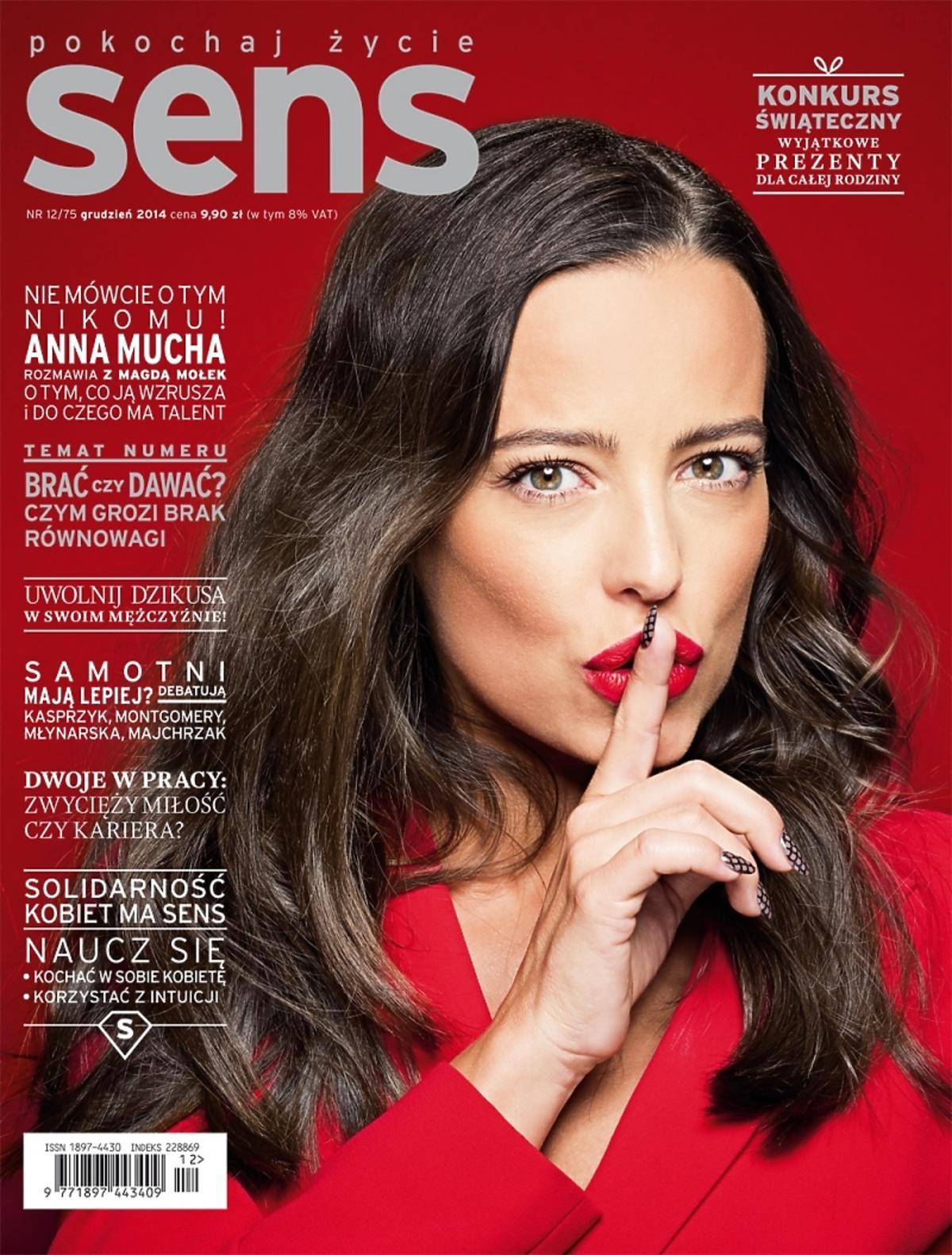 Anna Mucha na okładce Sens grudzień 2014