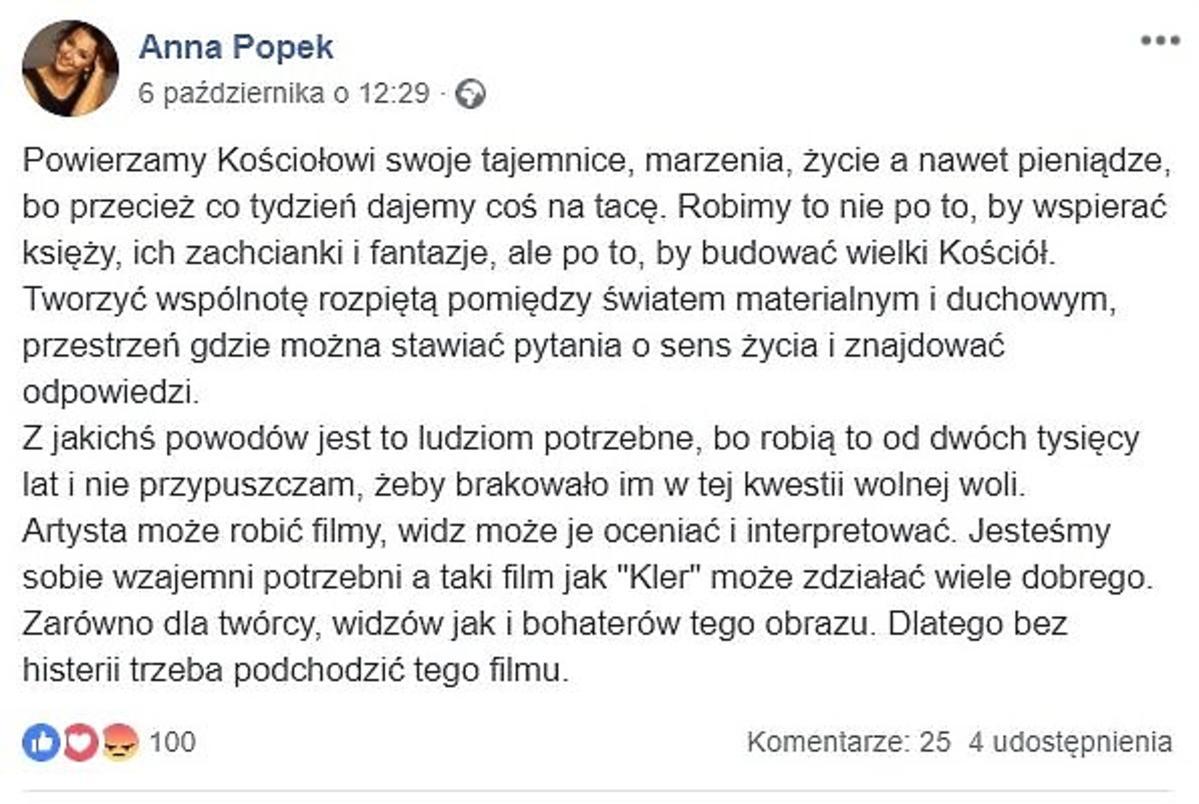 Anna Popek komentuje film