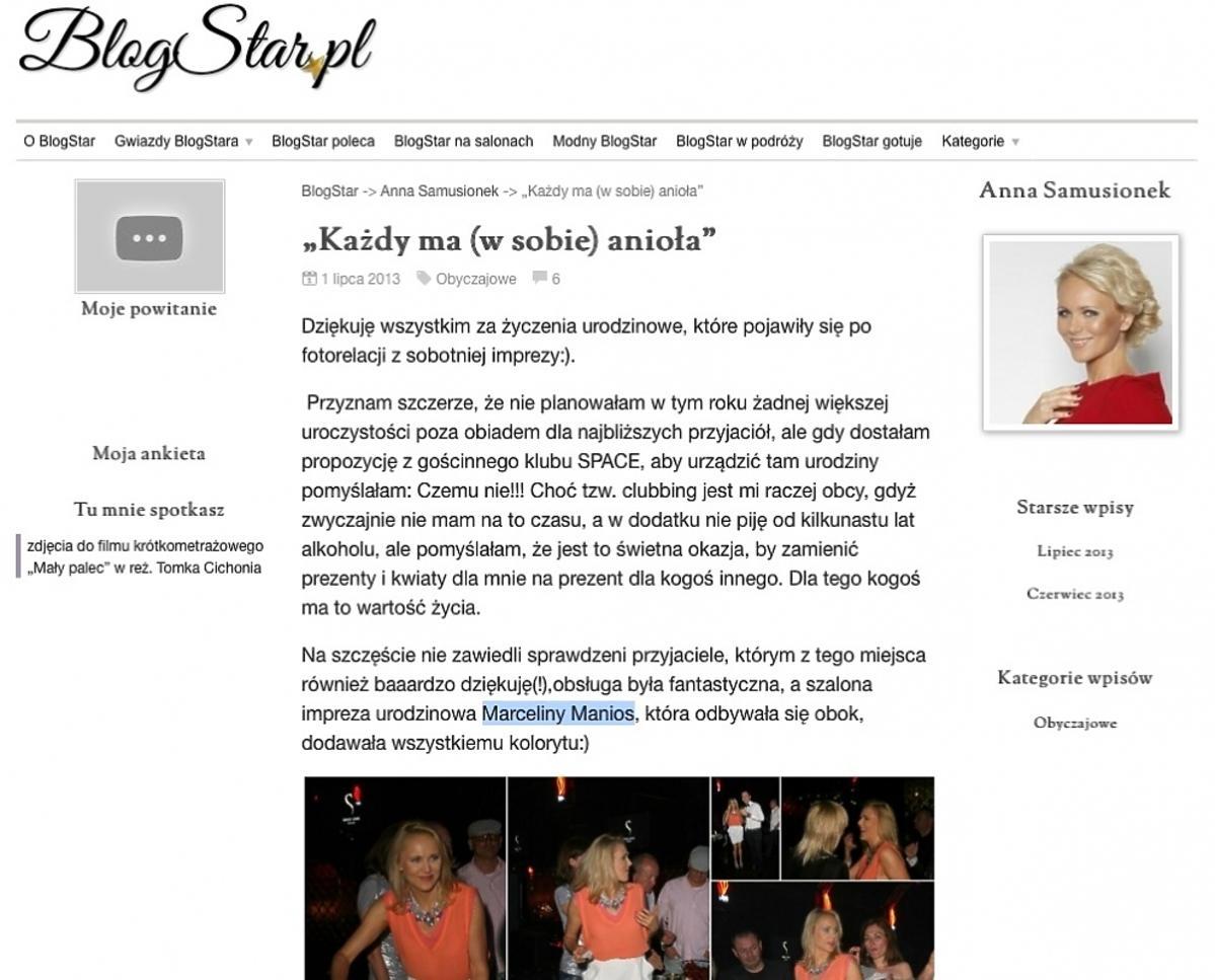 Anna Samusionek blog star