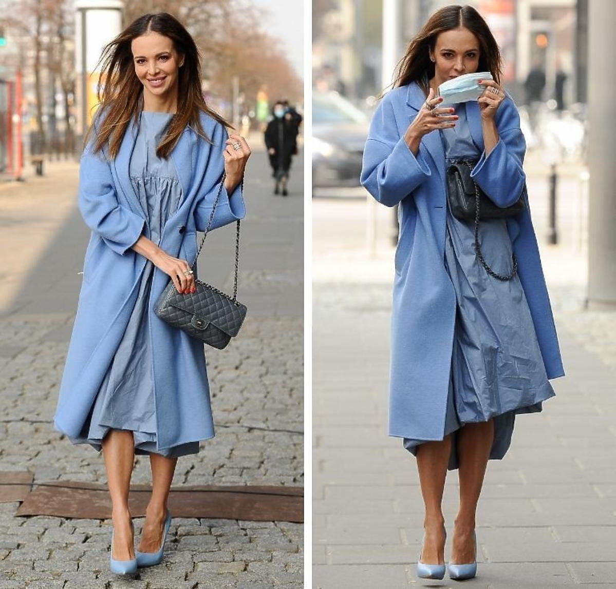 Anna Wendzikowska w niebieskiej stylizacji