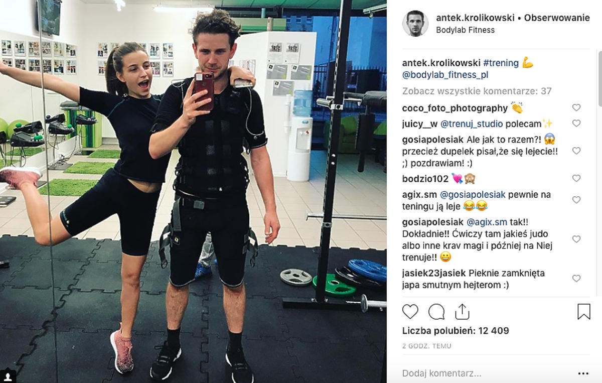 Antek Królikowski i Julia Wieniawa na siłowni