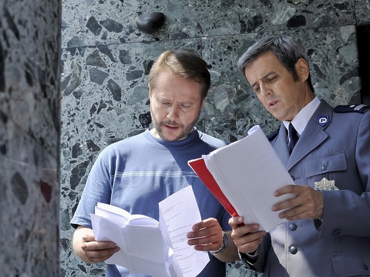Artur Żmijewski i Piotr Polk na planie serialu