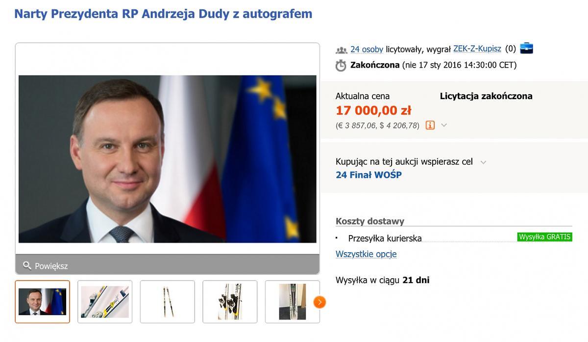 Aukcja narty prezydenta