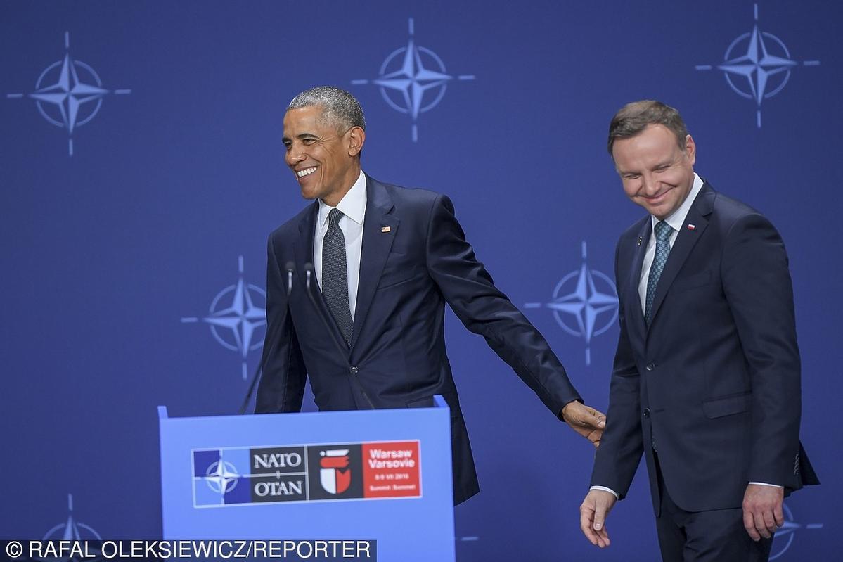 Barack Obama i Andrzej Duda na szczycie NATO