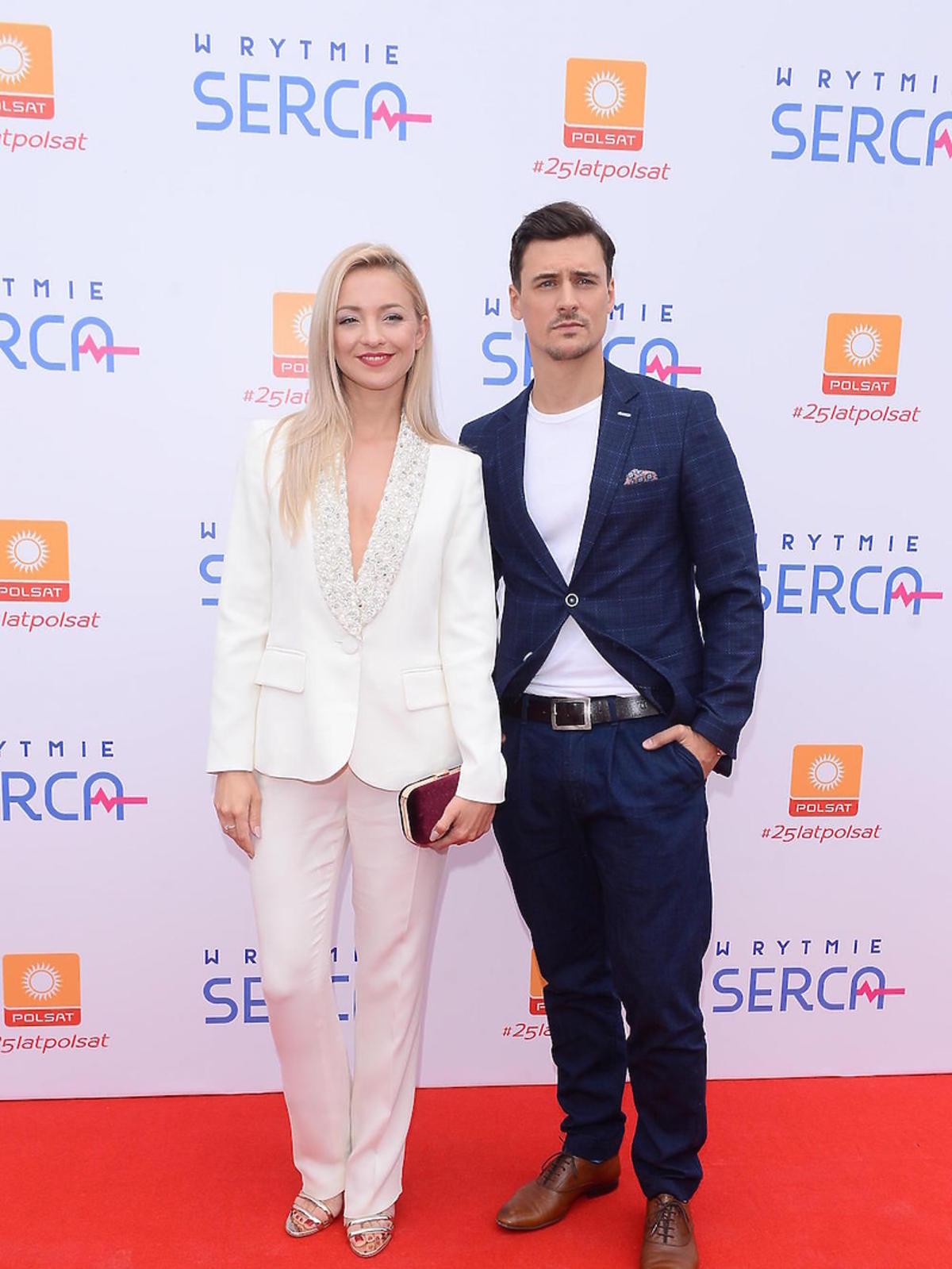 Basia Kurdej Szatan i Mateusz Damięcki na konferencji serialu
