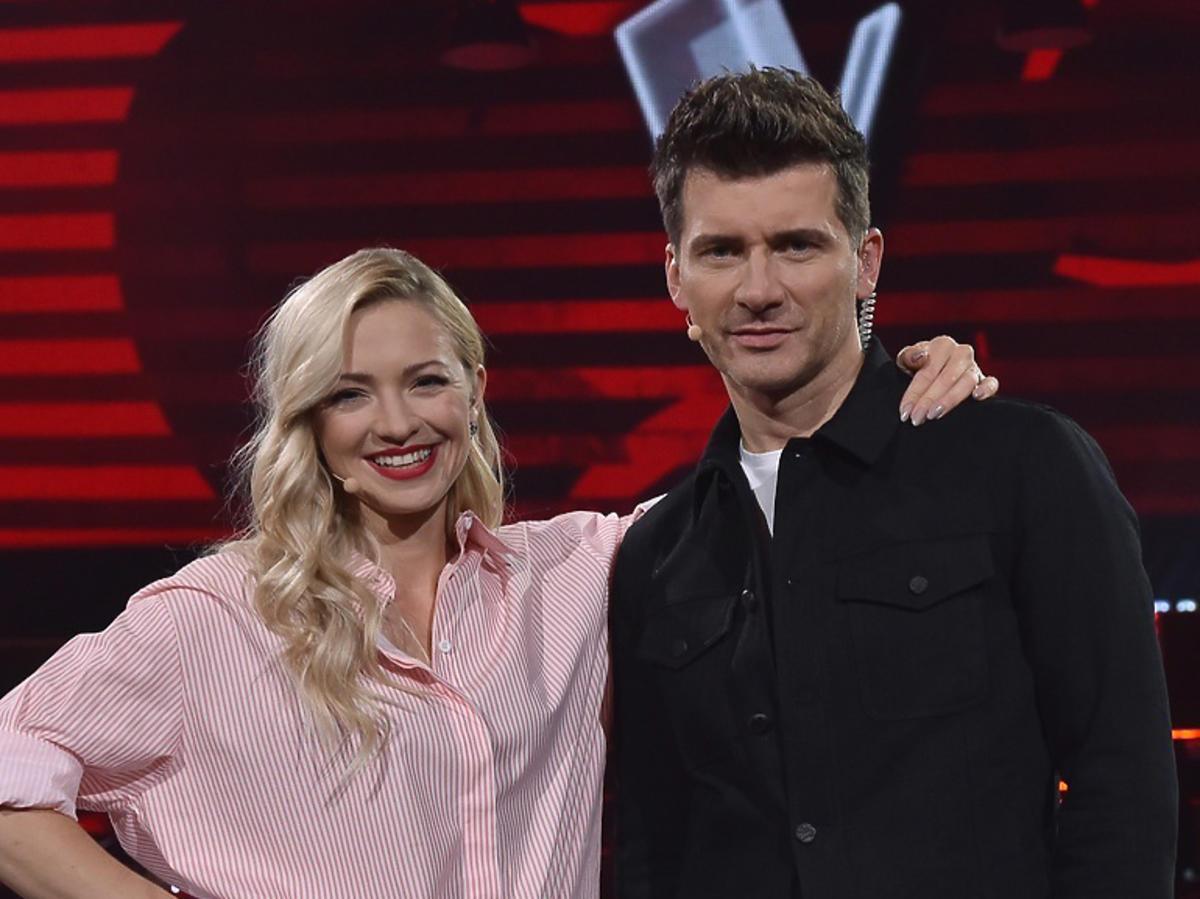Basia Kurdej-Szatan i Tomasz Kammel na planie The Voice of Poland