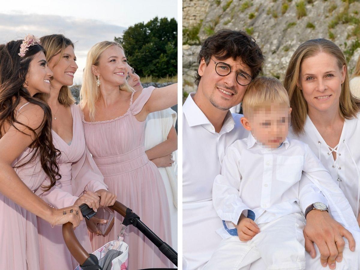 Basia Kurdej-Szatan z Mają Hyży, Kamilą Kamińską robią sobie zdjęciem, obok Mateusz Damięcki z żoną