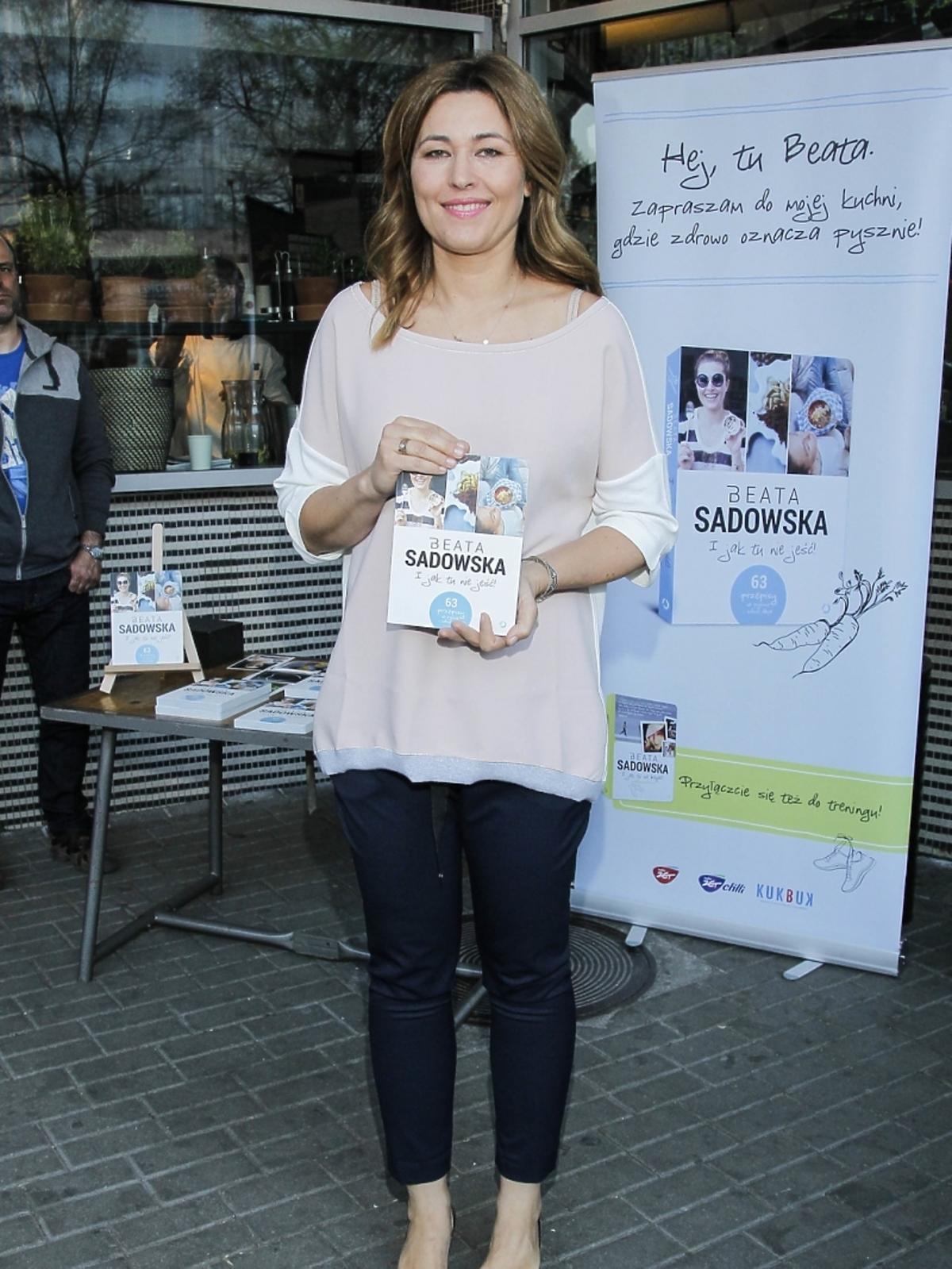 Beata Sadowska na premierze swojej książki