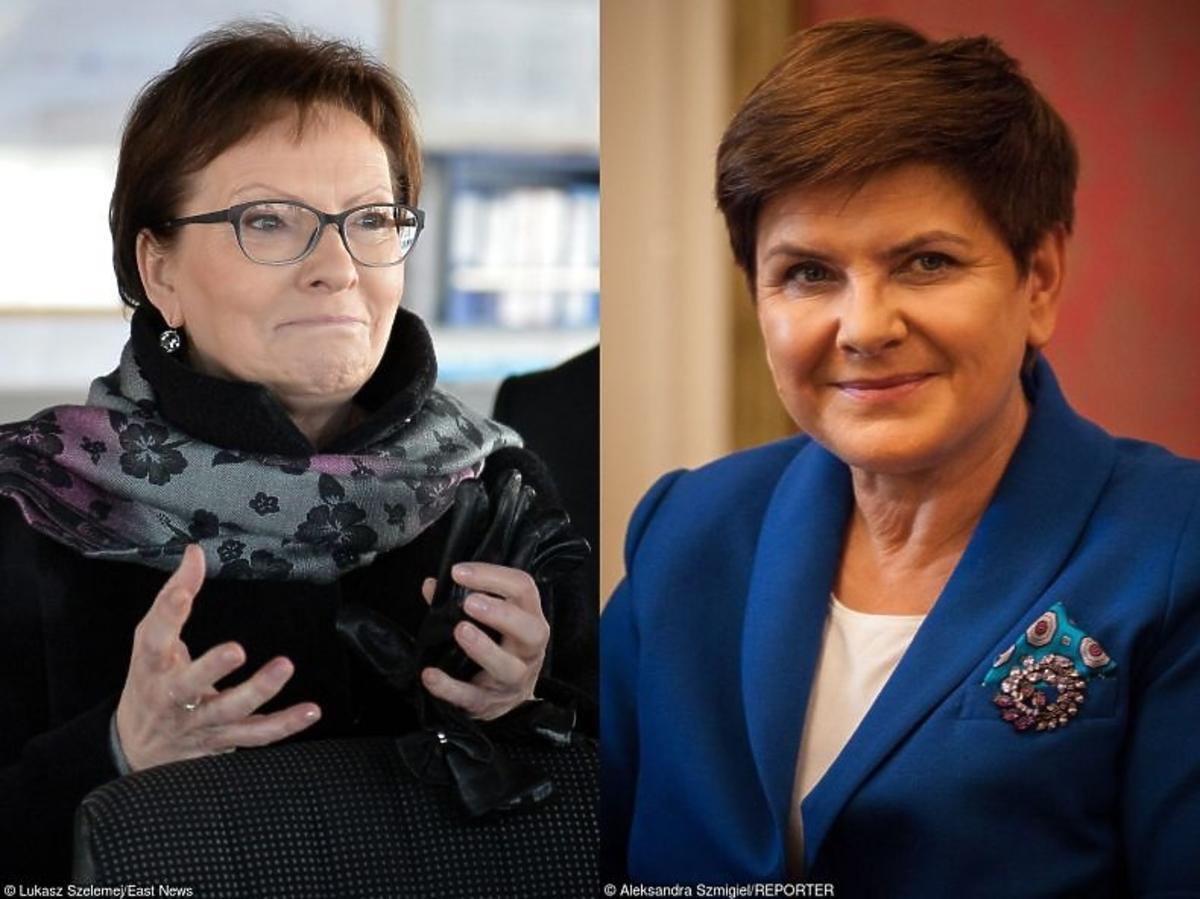 Beata Szydło w granatowej marynarce, Ewa Kopacz w czarnym płaszczu