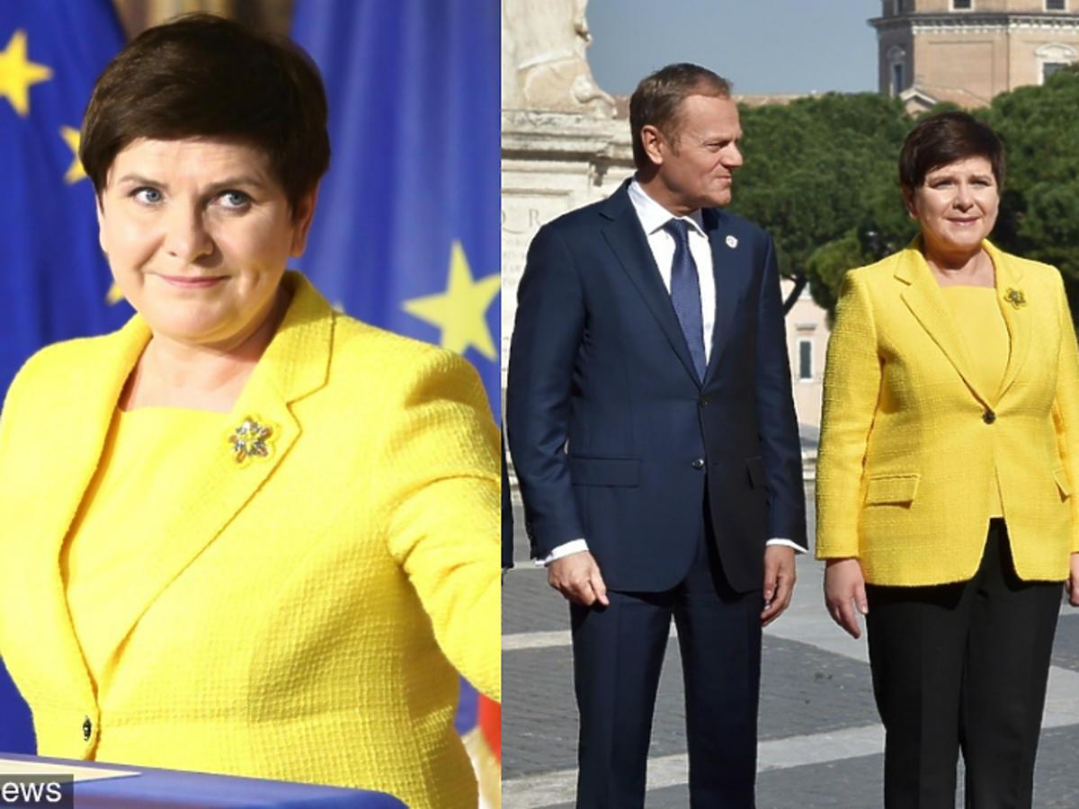 Beata Szydło w żółtym żakiecie na 60. rocznicy podpisania Traktatów Rzymskich