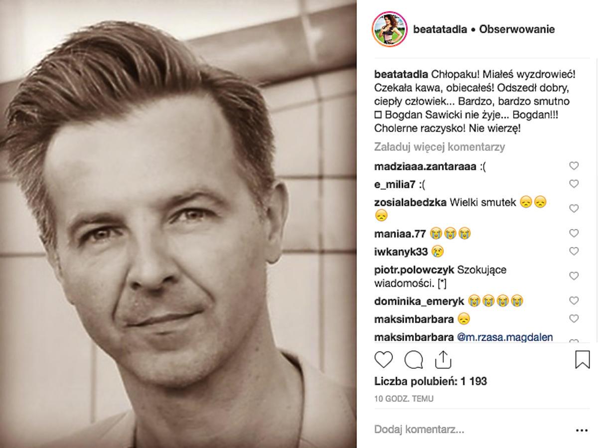 Beata Tadla żegna Bogdana Sawickiego