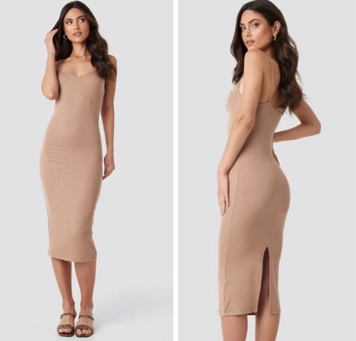 Beżowa obcisła sukienka Ribbed Jersey Midi Dress marki Na-kd