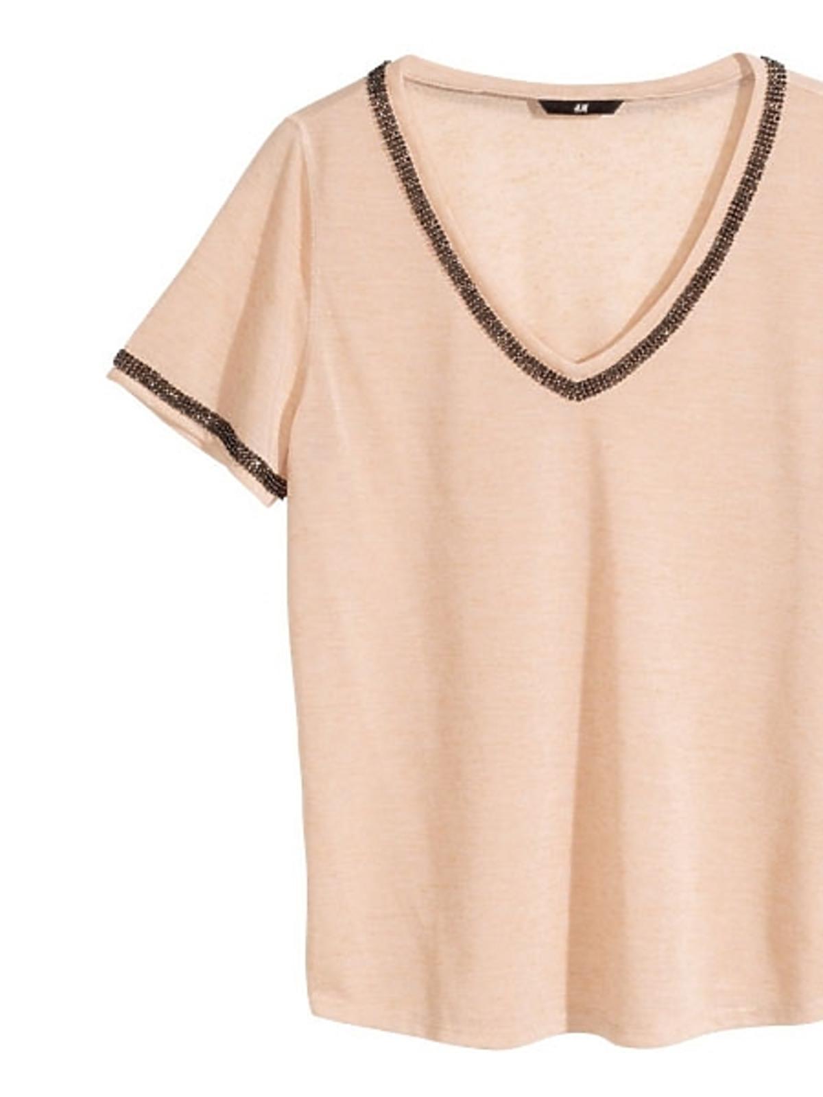 Beżowy t-shirt H&M, cena
