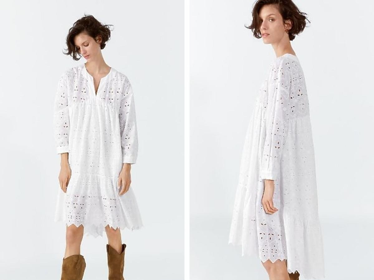 biała ażurowa sukienka Zara