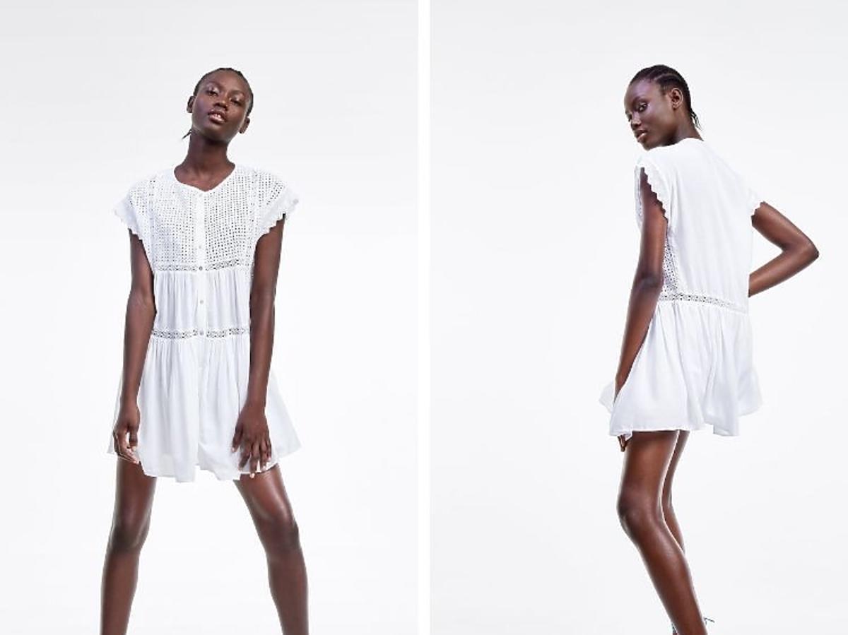 biała ażurowa sukienka Zara wyprzedaż