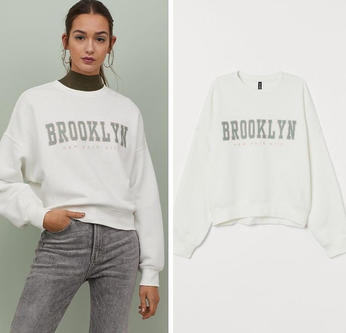 biała bluza z napisem z wyprzedaży H&M