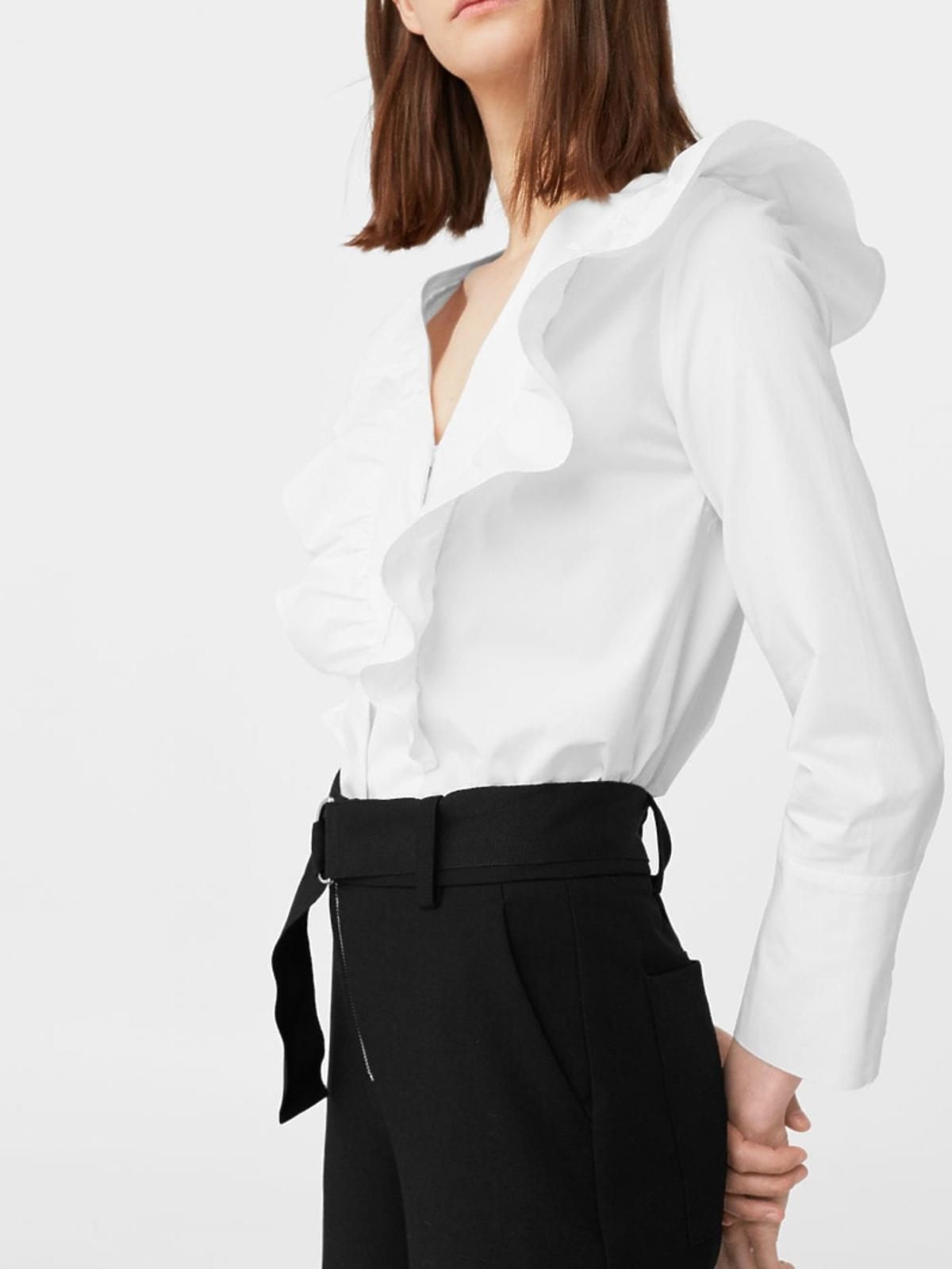 Biała bluzka z falbaną Mango, 119 zł