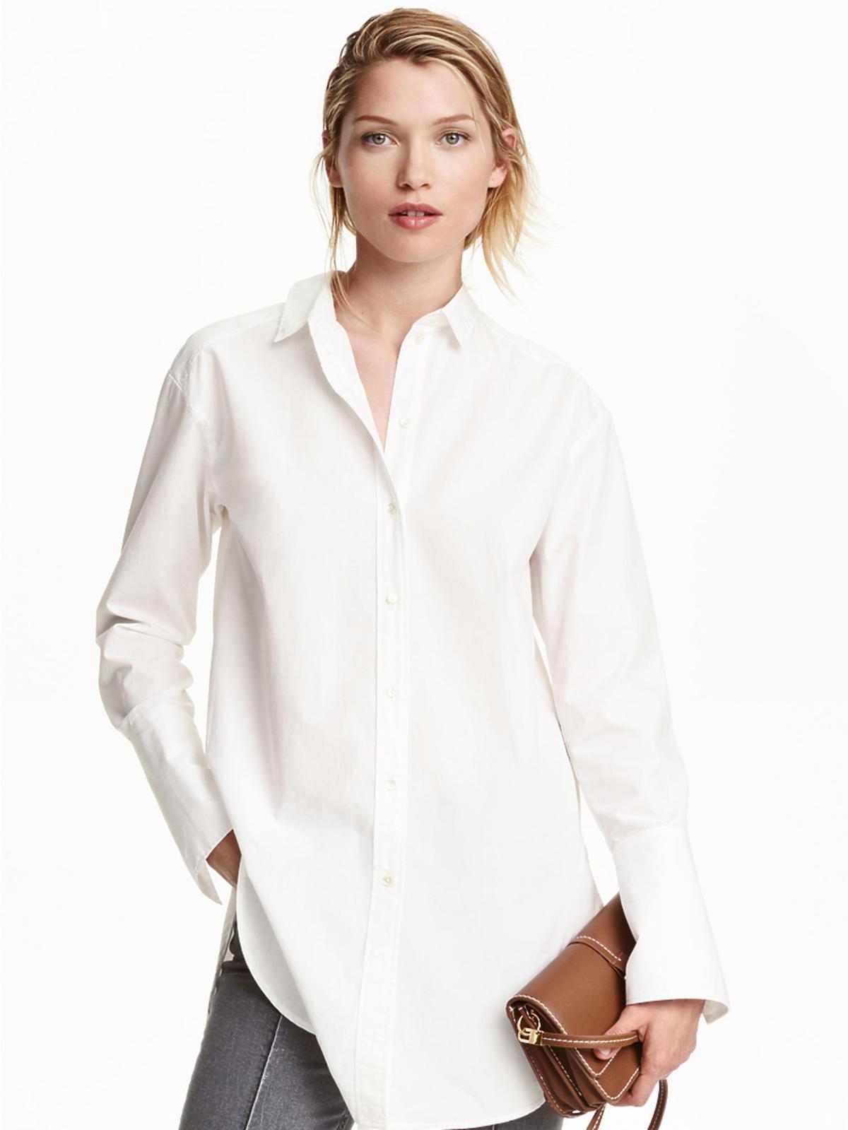 Biała koszula z bawełny, H&M, przeceniona z 99,90 zł na 59,90 zł