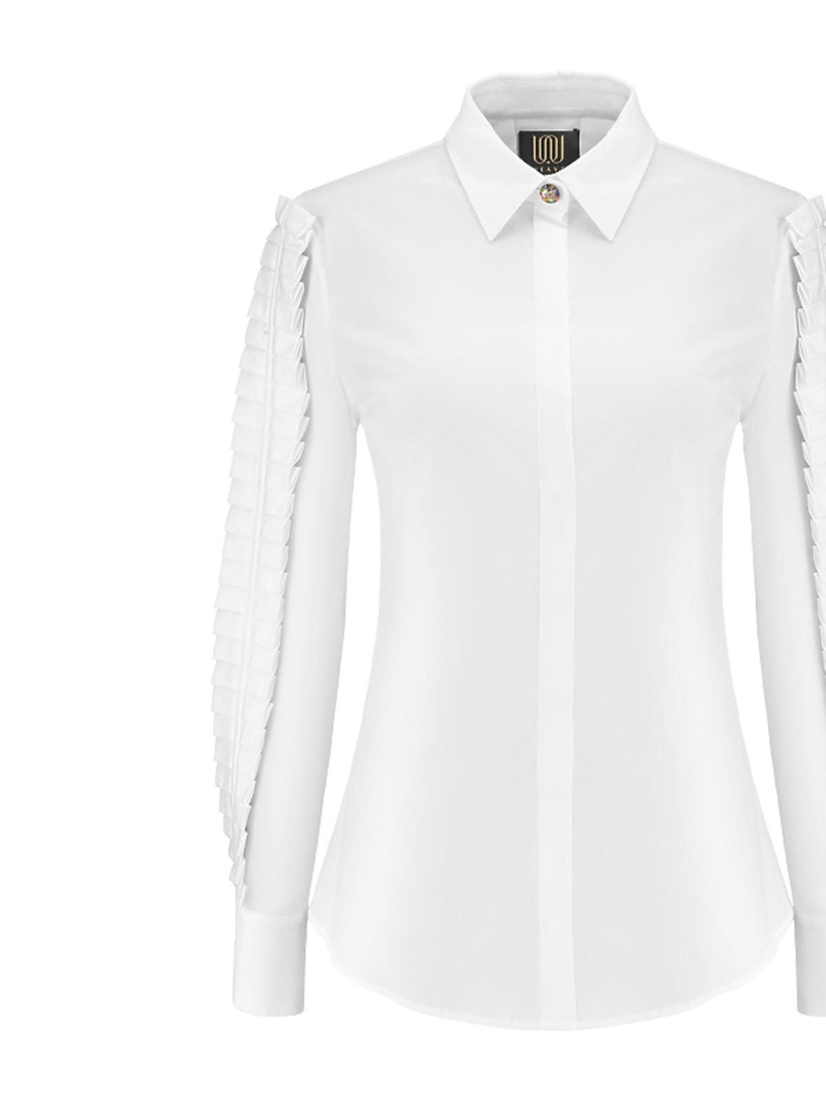 Biała koszula z plisami Weave, 1500 zł