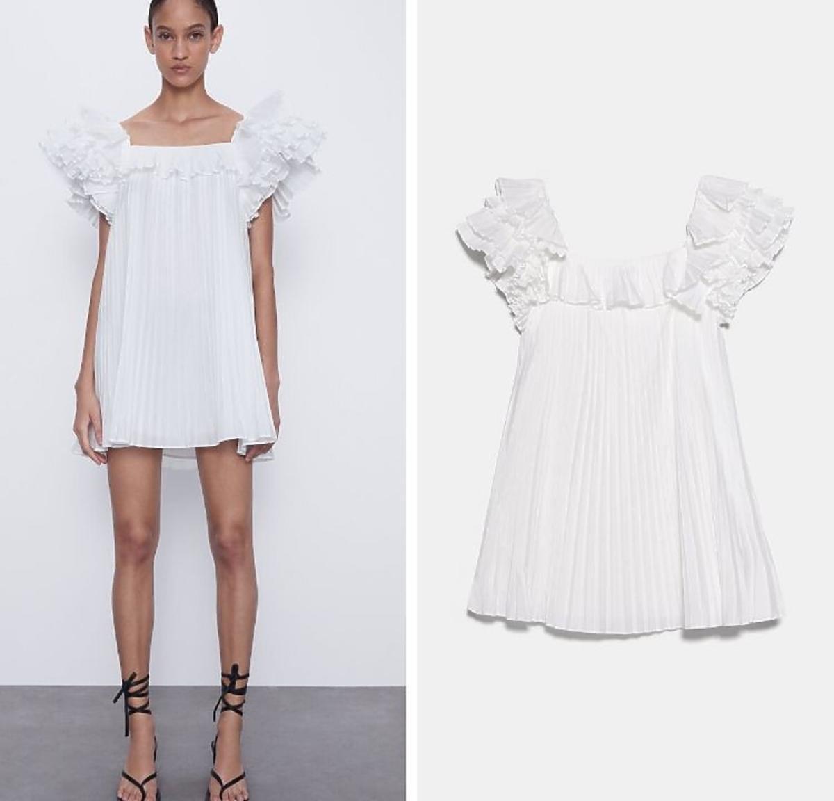 biała plisowana sukienka z Zary
