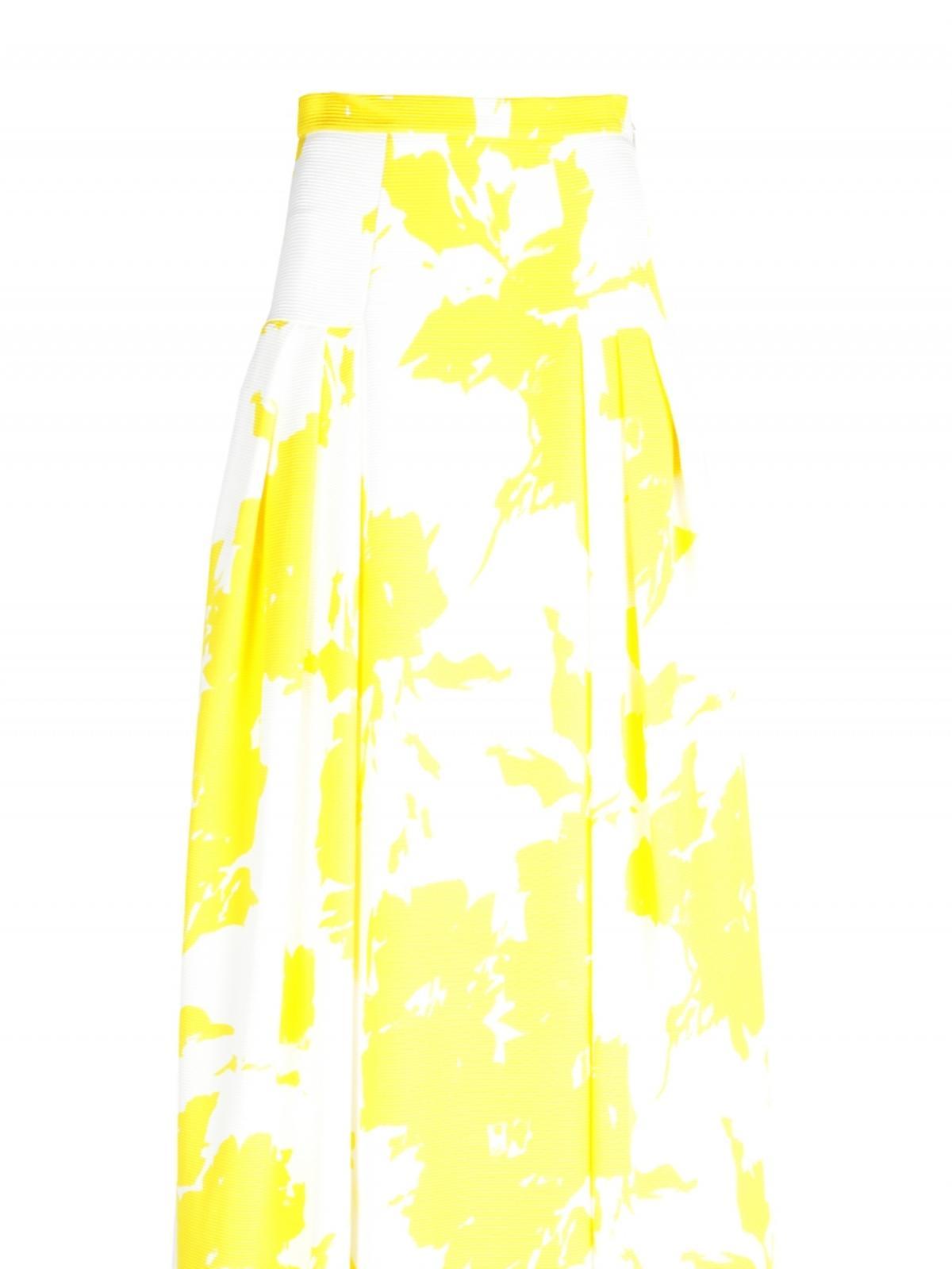 Biała spódnica do ziemi w żółte kwiaty